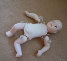 """Vintage All Bisque Hand Tied Baby Doll 4"""" Dressed"""