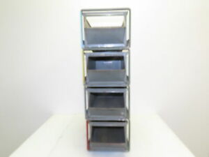 "Lyon Vintage Industrial Stackable Steel Bins 20""x10""x8"" LOT OF 4"