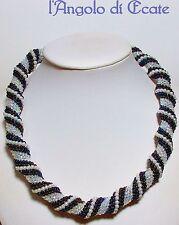 COLLANA A SPIRALE artigianale fatto a mano semirigida perle perline conterie