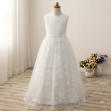 Long Lace Flower Girl Wedding Dress Party Prom Communion Formal Pageant Princess