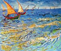 The sea at Saintes-Maries by Vincent Van Gogh Giclee Print Repro on Canvas