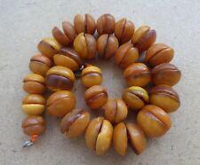Old Beads Raw Natural Antique Baltic Vintage Amber OLD EGG YOLK Necklace 65 g.
