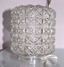 "Vintage Clear CYLINDER Diamond CUT Glass LIGHT Replacement GLoBe 3.25"" Fitter"