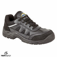 Tuffking 9066 S1P Black Leather Steel Toe Cap Safety Trainers Work Shoes PPE