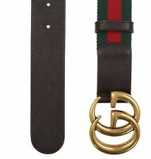 NEW GUCCI CURRENT WEB DETAIL CANVAS BROWN LEATHER DOUBLE G BUCKLE BELT 95/38