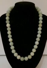 Vintage 1960's 293ct 10mm Carved Bead Natural Apple Green Jade Necklace 58 Grams