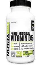 NutraBio PANTOTHENIC ACID 250mg (Vitamin B-5) 120 Capsules