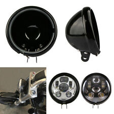 "5.75"" Black Motorcycle Headlight Cover Housing Holder Bucket For Harley Dyna"