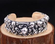 24mm Silver Men's  Wide Heavy skull cuff bracelet  bangle 126g