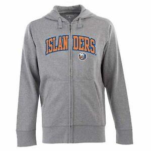 NWT Mens New York Islanders Full-Zip Hooded Applique Sweatshirt Antigua Medium