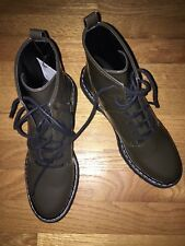 NEW ZARA Women's Khaki Green Lace Up Combat Boots/ Ankle Boots, Size 39/ 8