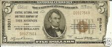 $5.00 1929 NATIONAL BANK NOTE  DesMoines, IA. Charter# 13321  T-1