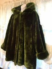 Carlos Contrada Faux Fur Green Hooded Jacket Made In Italy Sz XXL ?Vintage?
