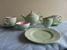 Crown Devon Fielding's Tea for Two / Breakfast Set in Mint and Blush Pink.