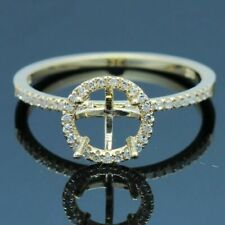 6.5MM ROUND 10K YELLOW GOLD PAVE DIAMOND SEMI MOUNT ENGAGEMENT WEDDING FINE RING