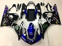 BLACK BLUE WHITE ABS INJECTION MOLD BODYWORK FAIRING KIT FOR YAMAHA YZF R6 2005