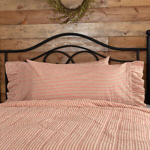 VHC Brands Farmhouse King Ticking Stripe Pillow Case Set of 2 Red Bedroom Decor