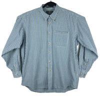 ORVIS Mens Blue Green Plaid Cotton Long Sleeve Button Shirt Size Large