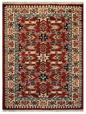 Hand Knotted Afghan Wool And Silk 6'x9' Area Rug Kazak Red Cream AF0107