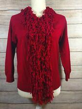 August Silk Size Medium Red Fringe 3/4 Sleeve Sweater Cardigan