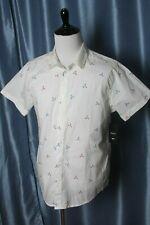 RVCA Men's Tridot Short Sleeve Woven Button Down Shirt, White, XL