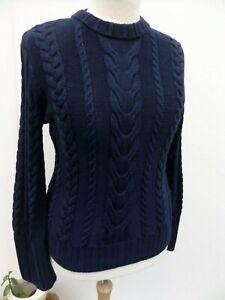 Polo Ralph Lauren Cable-Knit 100% Cotton Navy Jumper (Size L)