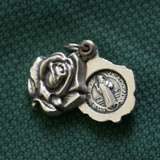 ITALY SILVER ST.BENEDICT Rose Open box Medal Pendant/locket / Rosary GIFT