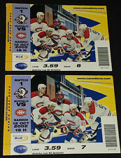 2002 - MONTREAL CANADIENS vs BUFFALO SABRES NHL INAUGURAL MATCH TICKET STUBS (2)