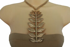Cool Women Fashion Gold Metal Chains Short Necklace Long Big Leaf Branch Pendant