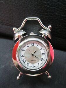MINIATURE CHROME ALARM CLOCK -NEW OLD STOCK BOXED