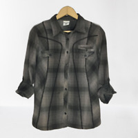 Columbia Medium S M Gray Black Plaid Flannel Button Front Shirt Roll Tab Sleeve