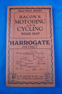 BACON'S MOTORING AND CYCLING ROAD MAP HARROGATE DISTRICT HALF INCH SERIES