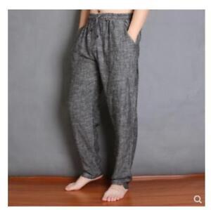 Mens Retro Linen Cotton Drawstring Harem Pants Casual Loose Baggy Trouser Big Sz