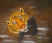 Gemälde - Tiger abstrakt - handgemalt Leinwand Acryl Malerei modern naiv Katze