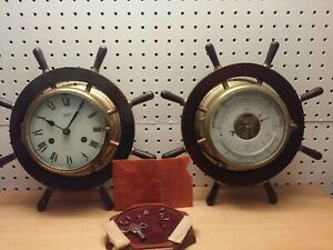 Vintage Schatz Mariner 8 Day Ship Clock and Schatz Barometer Works