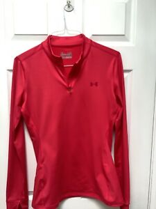 Under Armour Women's Activewear Pullover Long Slv L Red Fitted 1/4 Zip Coldgear