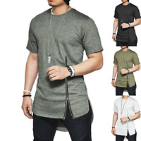 Mens T-Shirt Extra Long Tall Body Urban Tee Longline Oversized Solid Casual Tops