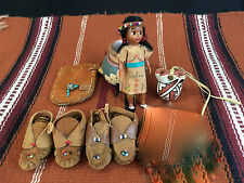 Native American Midcentury 1950's 2 pr tiny moccasins, two mexican pots, doll