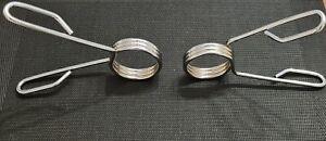 """Olympic Spring Collars Weight Barbell Bar Hole 2"""" 50mm Dumbbell Pair Steel Clips"""