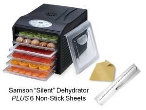 "Samson ""Silent"" 6 Tray Dehydrator plus 6 Teflon Non-stick Sheets"