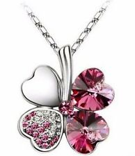 "Sparkling Pink Heart Shaped Clover Charm Necklace w/ 18"" Chain *BRAND NEW*"