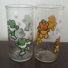 Kermit & Fozzie Bear Muppet Babies Glass Henson Vintage 1989 Jim Henson