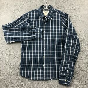 Abercrombie & Fitch Shirt Mens XL Button Up Muscle Long Sleeve Plaid Blue