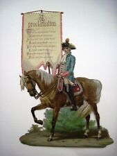 Large Vintage Die Cut Of Victorian British Soldier on Horse w/Love Proclamation*