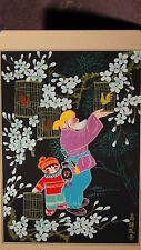 """20c CHINESE GOUACHE ON PAPER""""AN OLD MAN WITH A BOY AND BIRDS"""",SIGNED,MATTED"""