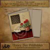Primitive Note Cards - Brown Kraft with envelopes - Geraniums Game board Swan
