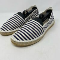 Saks Fifth Avenue Womens 9 EU 40 Espadrille Flat Shoes White Blue Stripe Slip On
