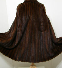 VINTAGE TED WEISS Brown Ranch Mink Cape Fur Sleeveless Cloak Size 12