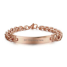 """8.5"""" Rose Gold Custom ID Bracelet Chain Wristband Free Engraving Stainless Steel"""