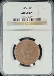 1854 Braided Hair Large Cent NGC AU58BN Chocolate Brown!